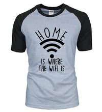 T-Shirt Home Is Where The Wifi - Gris / S - T-Shirts Drôle Home Marrant Message