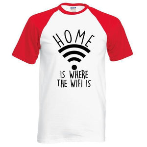 T-Shirt Home Is Where The Wifi - Rouge / S - T-Shirts Drôle Home Marrant Message