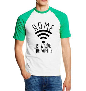 T-Shirt Home Is Where The Wifi - Vert / S - T-Shirts Drôle Home Marrant Message