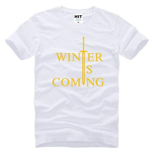 T-Shirt Winter Is Coming - Blanc Jaune / S - T-Shirt Game Of Thrones Pour Hommes Winter Is Coming