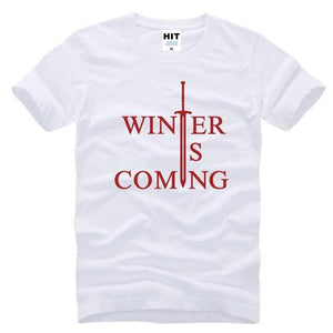 T-Shirt Winter Is Coming - Blanc Rouge / S - T-Shirt Game Of Thrones Pour Hommes Winter Is Coming
