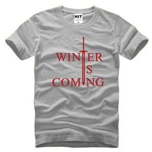 T-Shirt Winter Is Coming - Gris/rouge / S - T-Shirt Game Of Thrones Pour Hommes Winter Is Coming