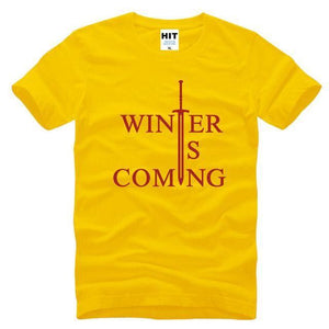 T-Shirt Winter Is Coming - Jaune/rouge / S - T-Shirt Game Of Thrones Pour Hommes Winter Is Coming