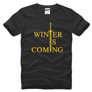 T-Shirt Winter Is Coming - Noir/jaune / S - T-Shirt Game Of Thrones Pour Hommes Winter Is Coming