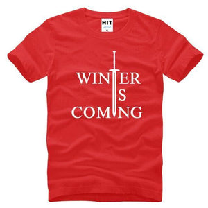 T-Shirt Winter Is Coming - Rouge / S - T-Shirt Game Of Thrones Pour Hommes Winter Is Coming