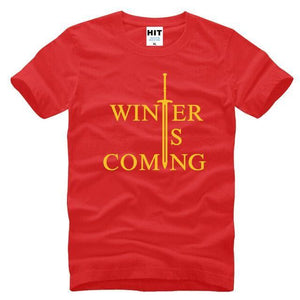 T-Shirt Winter Is Coming - Rouge/jaune / S - T-Shirt Game Of Thrones Pour Hommes Winter Is Coming