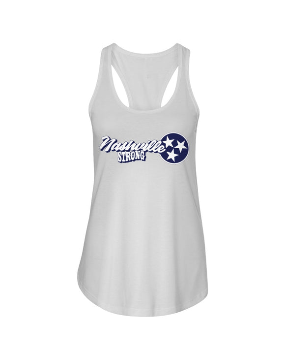Nashville Strong (Official) - Next Level Ladies Racerback Tank - Text Logo 2