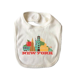 New York Cityscape natural organic cotton baby bib
