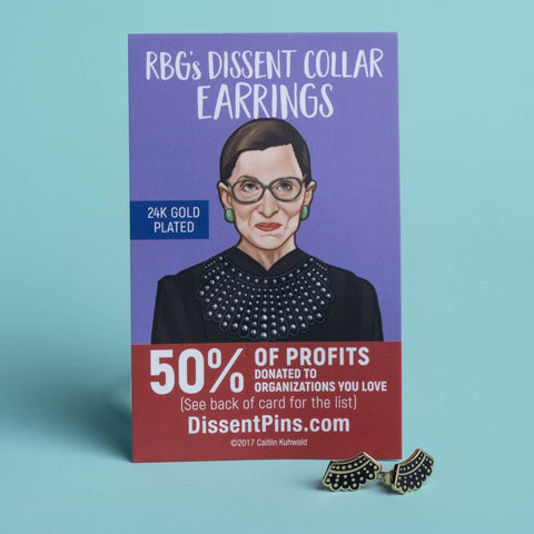 RBG Dissent Collar Earrings by Dissent Pins