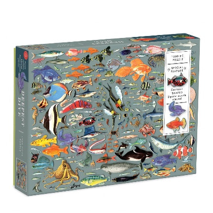 Deepest dive puzzle , sea creatures die cut