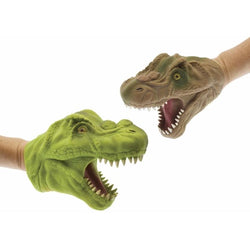 Dino hand puppets in green and brown