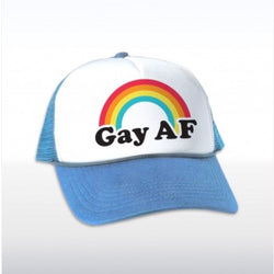 Gay AF Truckers cap with rainbow