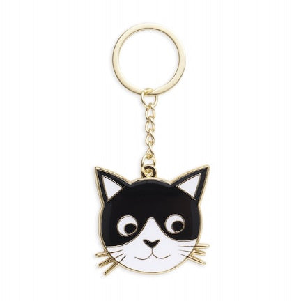 Black and white cat face keychain