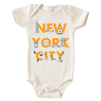 nyc font baby onesie by maptote