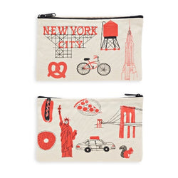NYC zippered pouch , illustrations by claudia pearson