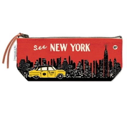 See NY skyline with taxi on canvas  zippered pencil pouch
