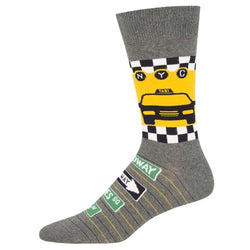 NYC taxi mens crew socks grey.
