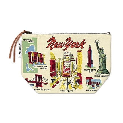 NY  vintage print icon zippered pouch by cavellini