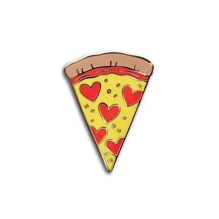 pizza slice enamel pin with heart shaped pepperoni by the Found