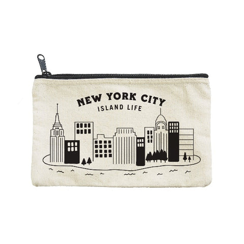 New York City Island life zippered canvas pouch