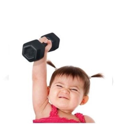 buff babt rattle looks like a dumbbell