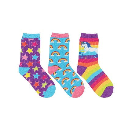 Sparkle 3 pack kids socks with unicorn