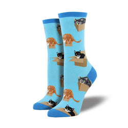 Cat in boxes womens crew socks light blue