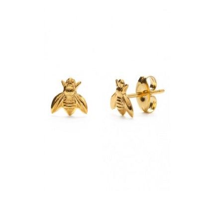 Bee gold plated stud earrings