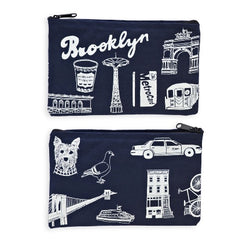 Brooklyn canvas cotton zippered pouch by claudia pearson
