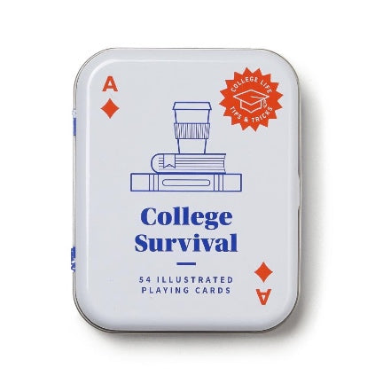 College suvival cards in a tin