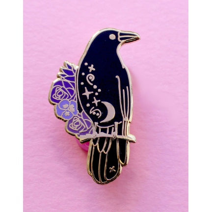 Black crow with flowers enamel pin