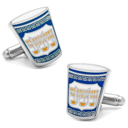 Greeek coffee cup enamel cufflinks