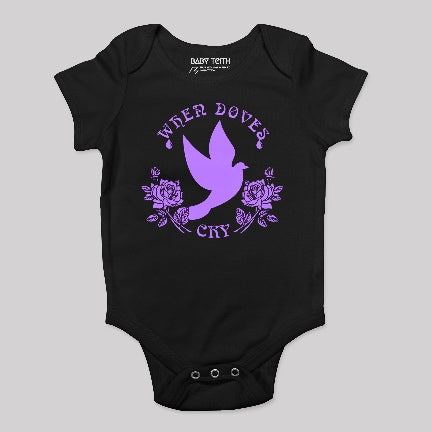 Doves Cry onesie black with purple