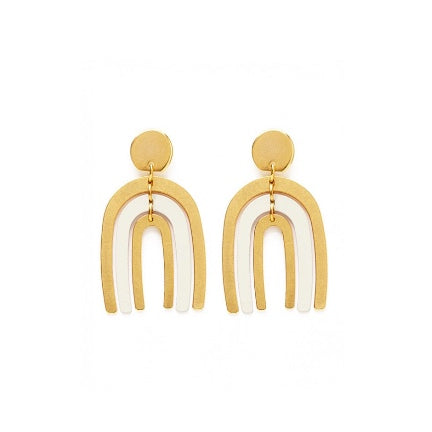 Arco earrings(ivory rainbow) with surgical steel posts