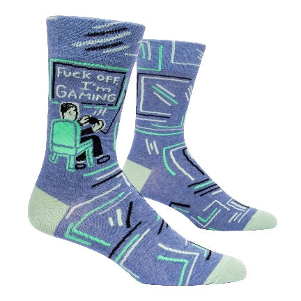 Fuck off Im gaming mens crew sock in blue