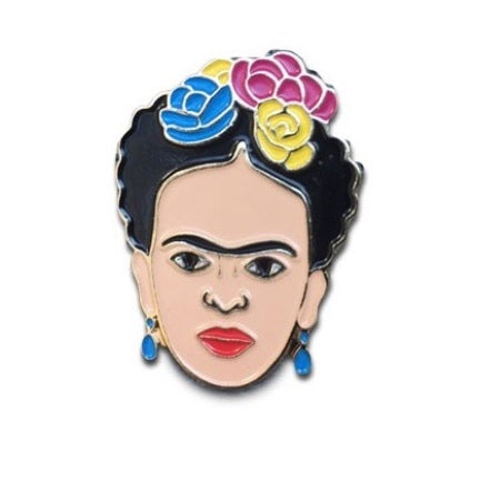 Frida Kahlo enamel pin flowers in hair