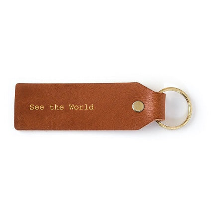 See the World Leather Key Ring