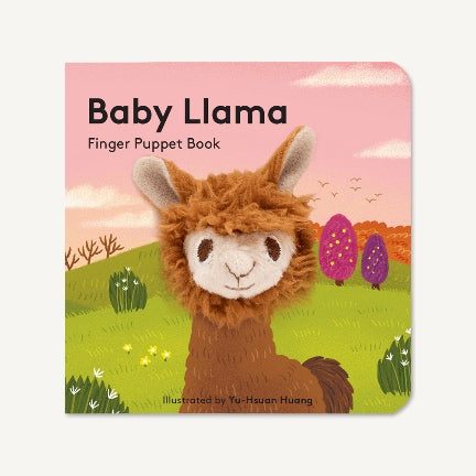 Baby Llama booard book with finger puppet in center