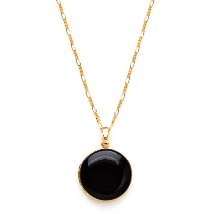 Black enamel and gold round locket