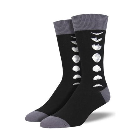 Mens Just a (moon) phase crew sock , black