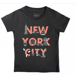 NYC FONT toddler tee in charcoal grey with red letters