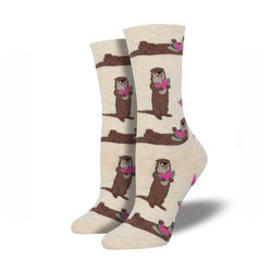 Ottermelon womens crew socks natural