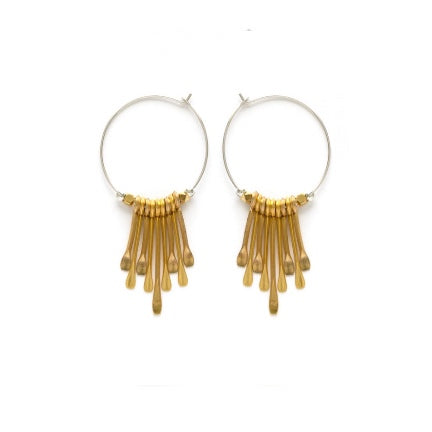 silver hoops with brass padles by amano studio