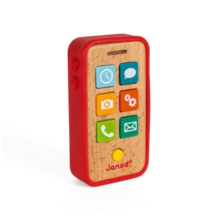Toy phone, wood & rubber by janie
