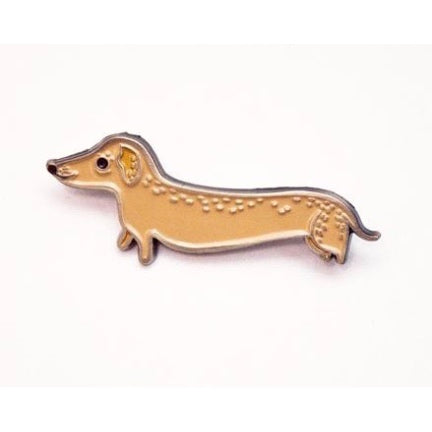 Doxie pin , art by susie ghahermani