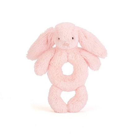 bashful pink bunny plush rattle by Jelly Cat