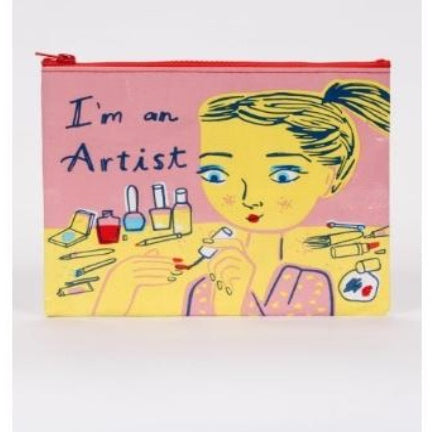 I'm an artist zippered pouch pink with nail polish