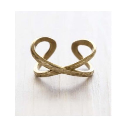 Criss Cross Hammered Ring