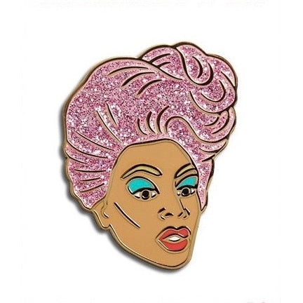 RuPaul enamel pin pink hair