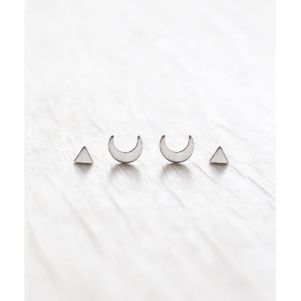 Silver stud set with moons by Amano